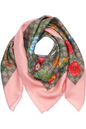 Gucci Pañuelo Cuadrado De Seda Estampado Floral