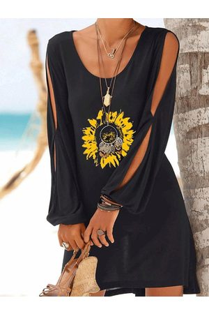 YOINS Casual Black Sunflower Print Slit Design Round Neck Long Sleeves Mini Dress