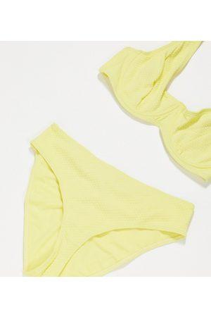 Peek & Beau Exclusive fill high leg bikini bottom in lemon