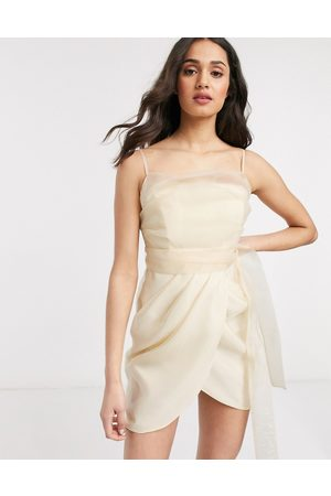 ASOS Organza cami mini dress wih drape skirt in Cream