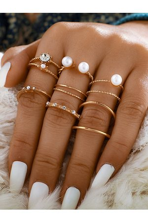 YOINS Gold Pearl Eight-piece Open Ring Set