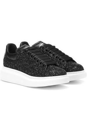 Alexander McQueen Leather-trimmed glitter sneakers