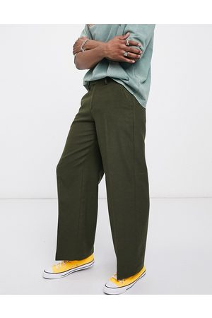 ASOS Extreme wide leg smart trouser in khaki wool mix
