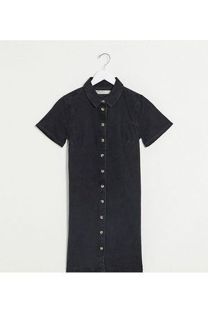 ASOS ASOS DESIGN Tall soft denim smock shirt dress in washed black