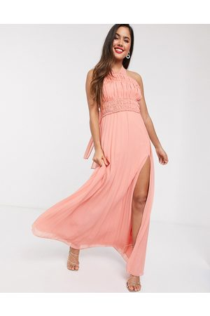 ASOS Halter neck ruched waist maxi dress with pleat skirt