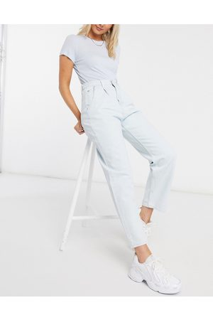 Weekday Fold organic cotton pleat jeans in bleached blue