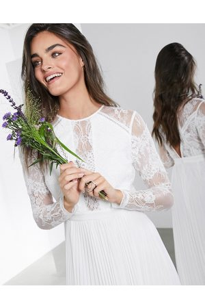 ASOS Iris long sleeve lace bodice maxi wedding dress with pleated skirt