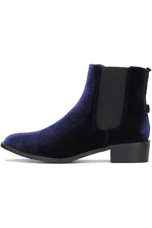 YOINS Navy Fashion Velvet Chelsea Ankle Boots with Crystal Embellished