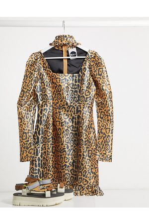 The Ragged Priest Mujer Casuales - Milk It Vintage puff sleeve leopard dress with cut out detail