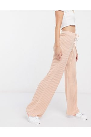 In The Style X Lorna Luxe lullaby ribbed wide leg trouser co ord in blush