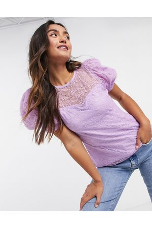 River Island Lace puff sleeve top in purple