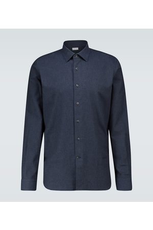 CARUSO Slim-fit long-sleeved cotton shirt
