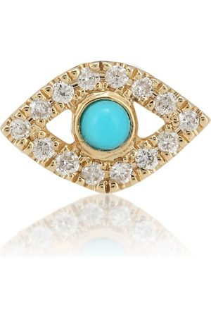 Sydney Evan Small Evil Eye 14kt gold single earring with turquoise and diamonds