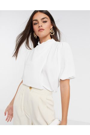 ASOS Drape high neck top with short sleeve in ivory