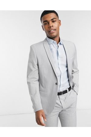 Viggo Recycled polyester slim fit suit jacket in light grey with pinstripe