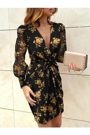 YOINS Deep v neck Floral print Twist Long sleeves Mini Dress