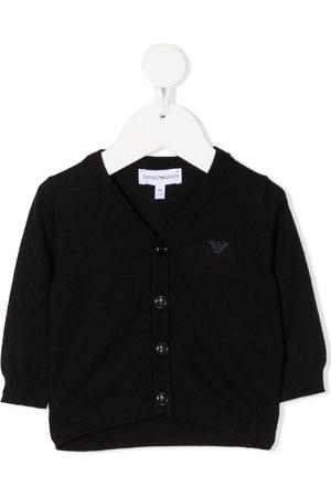 Emporio Armani Raised logo rib-trimmed cardigan