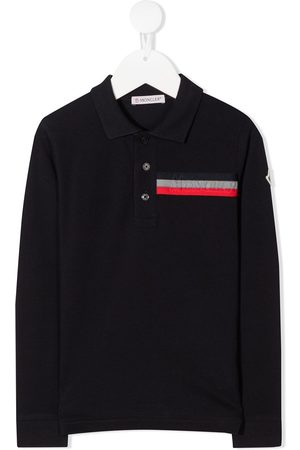 Moncler Long sleeve embossed logo polo shirt