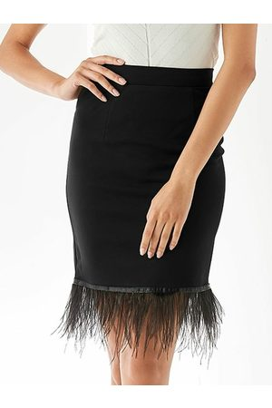 YOINS Mujer Ajustados y entubados - Zip Design Feather Hem Bodycon Skirt