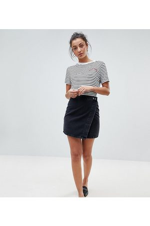 ASOS ASOS DESIGN Tall denim wrap skirt in washed black