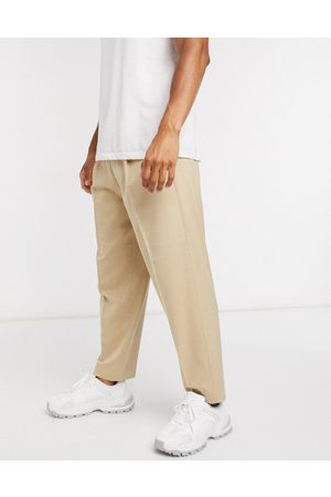ASOS Oversized tapered smart trouser in stone