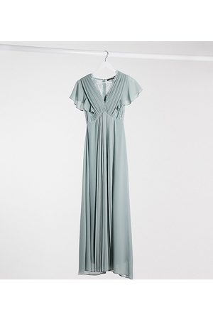 TFNC Bridesmaid lace detail maxi dress with flutter sleeve in sage