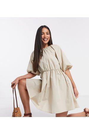 ASOS ASOS DESIGN Tall cotton poplin smock mini dress in stone