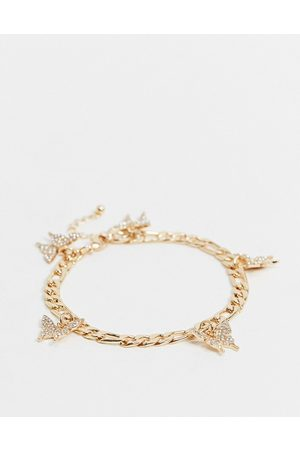 ASOS Anklet with butterfly charms in gold tone