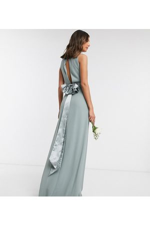 TFNC Bridesmaid cowl neck bow back maxi dress dress in sage
