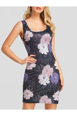 YOINS Random Floral Print Round Neck Bodycon Dress