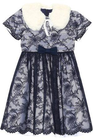 Rachel Riley Faux fur collar lace dress