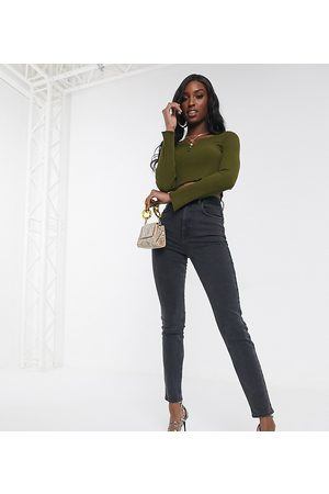 ASOS ASOS DESIGN Tall high rise farleigh 'slim' mom jeans in washed black