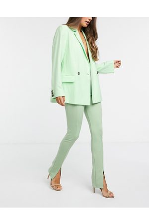 Flounce London Club high waisted tailored trousers in sage green