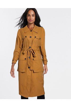 ASOS Four pocket trench coat in ochre