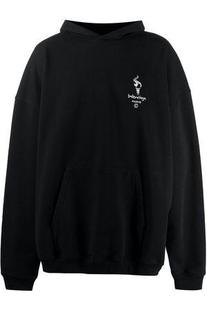 Balenciaga Embroidered-logo oversize hoodie