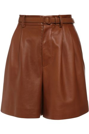 Ralph Lauren Shorts De Piel Con Cintura Alta