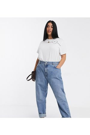 ASOS ASOS DESIGN Curve high rise 'slouchy' mom jeans in midwash