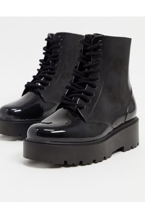 ASOS Generate lace up wellie boots in black