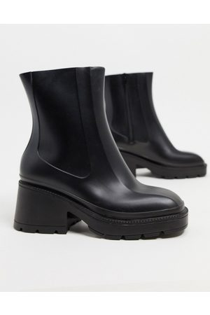 ASOS Grounded heeled rain boots in black