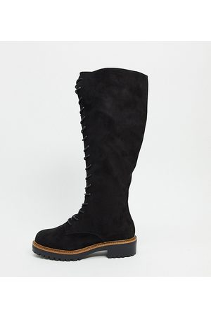 ASOS Wide Fit Courtney chunky lace up knee high boots