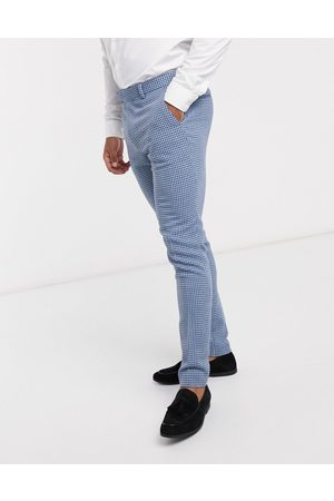 ASOS Wedding super skinny wool mix suit trousers in blue houndstooth check