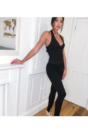 ASOS ASOS DESIGN Tall jersey slim split front suit trousers in black