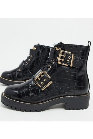 ASOS Wide Fit Aubrey lace up boots in black croc