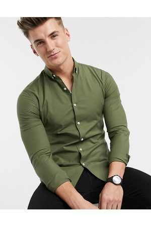 New Look Long sleeve muscle fit oxford shirt in khaki