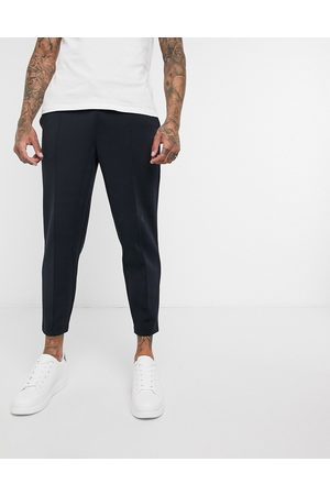 ASOS Smart tapered joggers in navy scuba with fixed hem