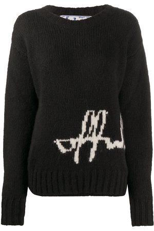 OFF-WHITE Logo intarsia crew neck jumper
