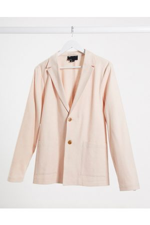 ASOS Skinny casual linen mix suit jacket in pink