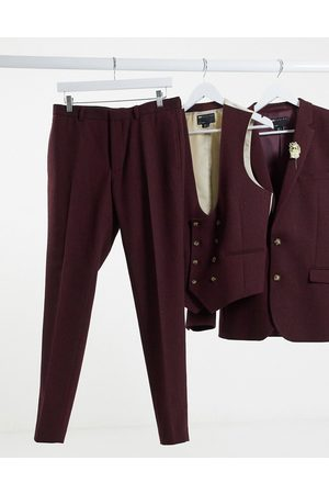 ASOS Wedding super skinny wool mix suit trouser in burgundy twill