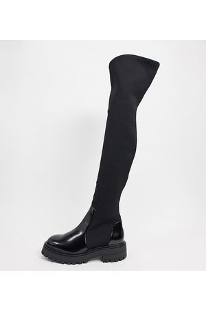 ASOS Wide Fit Keeley chunky flat knee boots in black