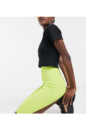 COLLUSION Longline rib legging shorts co ord in lime green